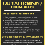 The EAWDB is hiring a full-time secretary/fiscal clerk in Roswell